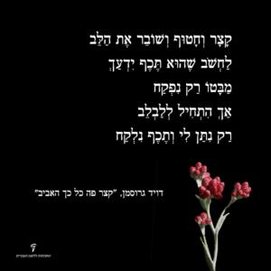 שורה משיר של דויד גרוסמן | האקדמיה ללשון העברית.