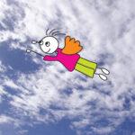 איור של ילד עף בשמיים כחולים