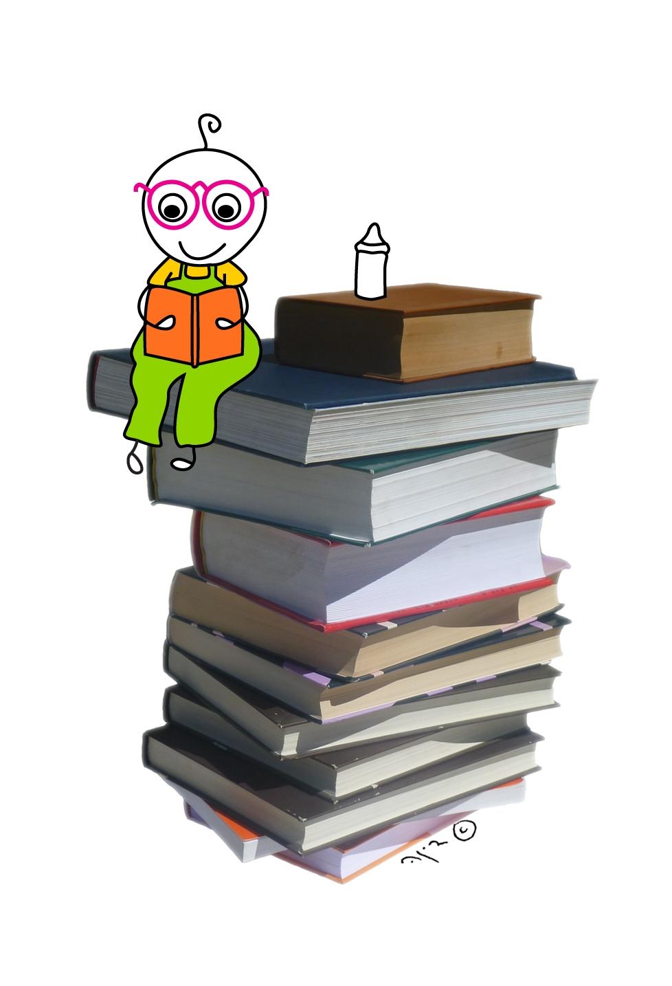 איור של ילד קטן קורא בספר יושב על ערימת ספרים