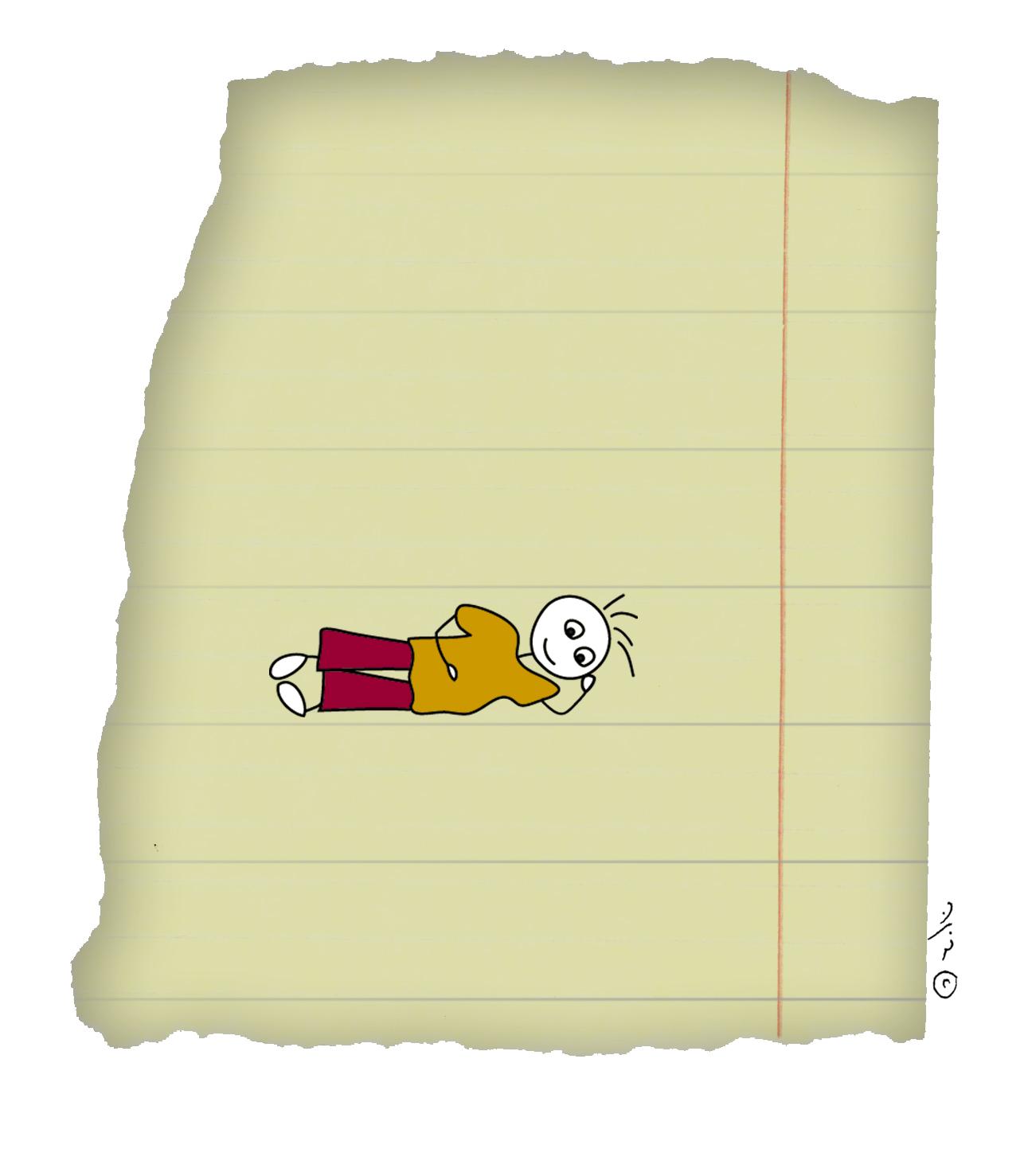 איור של ילד שוכב בין שורות של דף נייר - תוך, אמצע ומה שביניהם