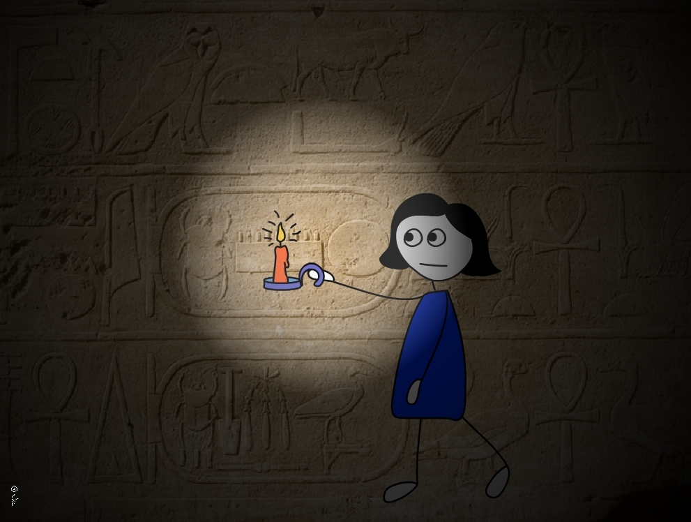 איור של ילדה אוחזת בנר ועל הרקע חרוט כתב עתיק