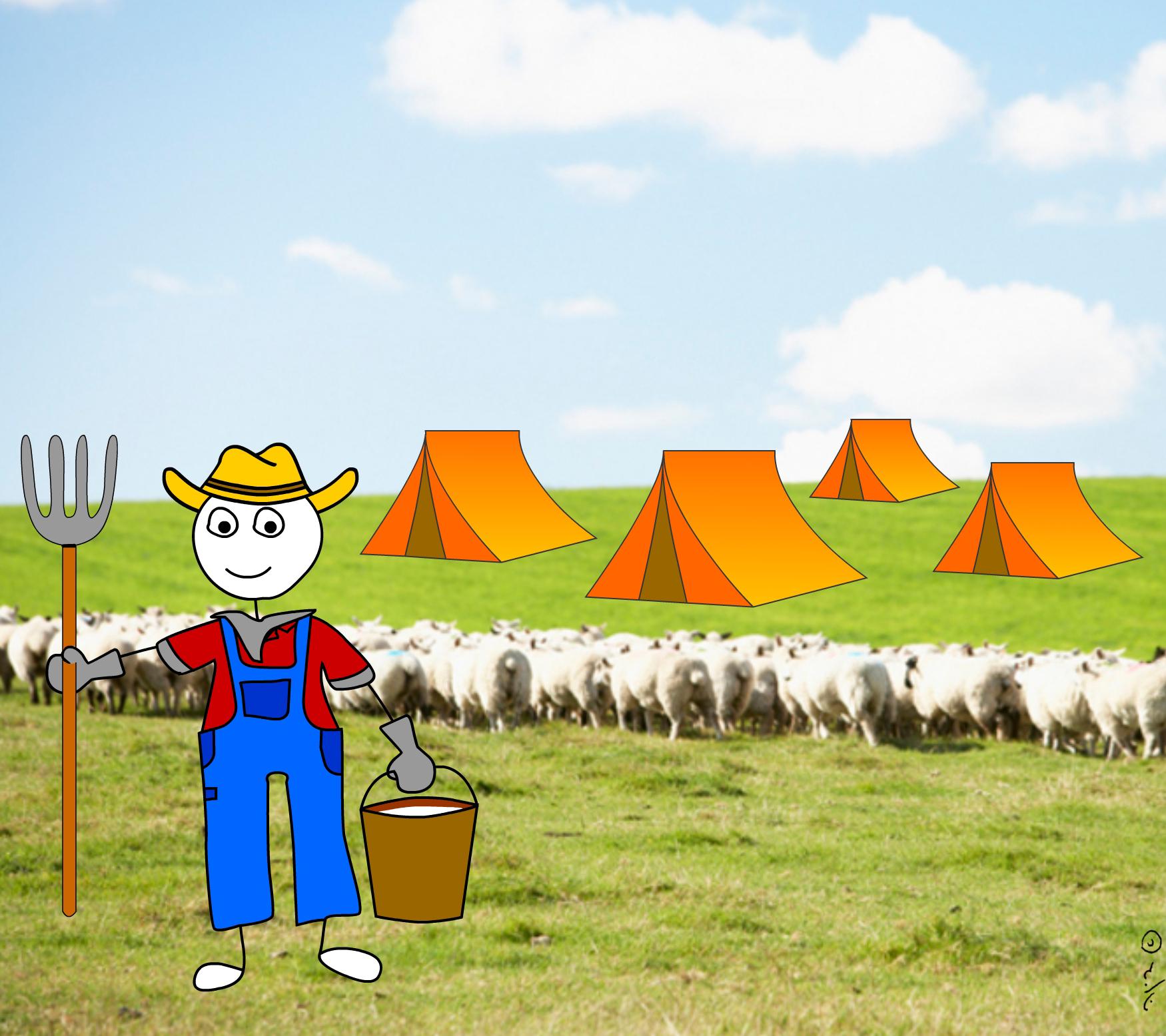 איור של חקלאי אוחז בדלי וקלשון ומאחריו עדר כבשים ואוהלים