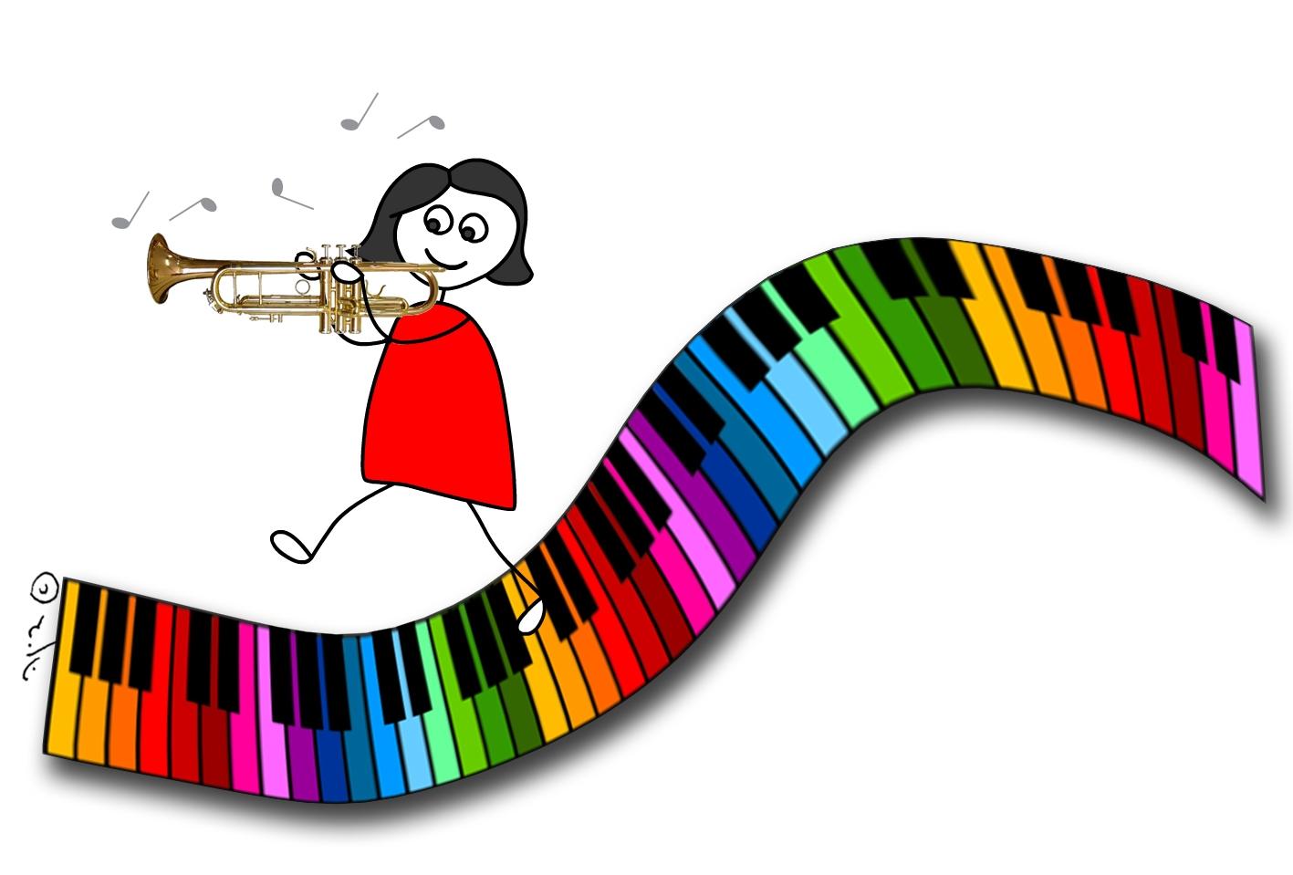 איור של ילדה מנגנת בחצוצרה צועדת על לוח קלידים צבעוני