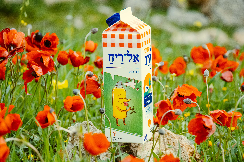 צילום קרטון חלב עם איור מילה מחודשת: דאודורנט – אַל־רֵיחַ