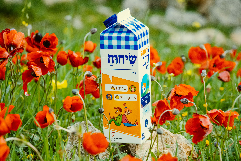 צילום קרטון חלב עם איור מילה מחודשת: צ'ט – שִׂיחוּחַ