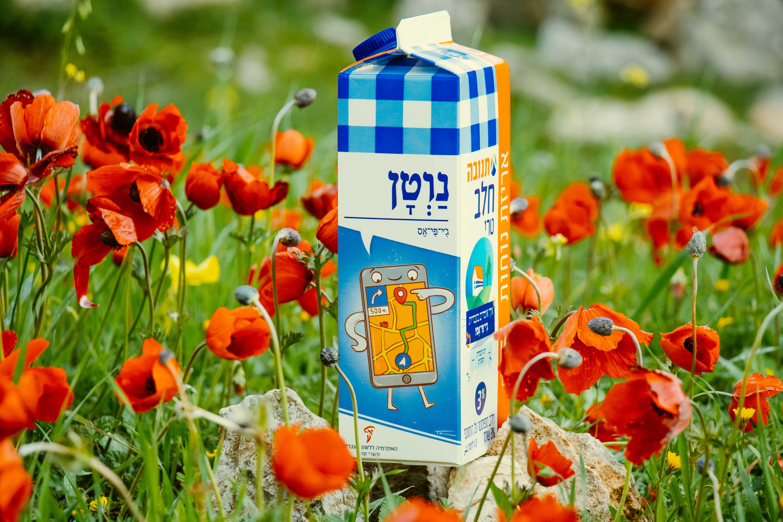 צילום קרטון חלב עם איור מילה מחודשת: ג'י־פי־אס – נַוְטָן