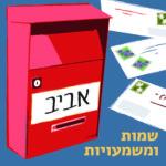 איור תיבת דואר אדומה על רקע כחול עם מכתבים, עליה השם 'אביב' וכיתוב שמות ומשמעויות