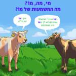 שתי פרות משוחחות עם הטקסט: במו אוזניי שמעתי אותו קורא לך במו פיו מושלמת. אין כמו יענקל'ה