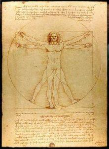 בתמונה: האדם הוויטרובי, רישום של לאונרדו דה וינצ'י משנת 1490.