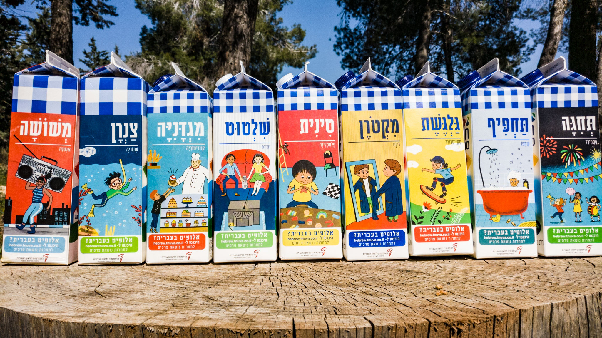 צילום קרטוני חלב ועליהם איורים למילים עבריות מחודשות