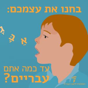 """איור של ילד הוגה אותיות א ב ג וכיתוב """"בחנו את עצמכם: עד כמה אתם עבריים?"""""""