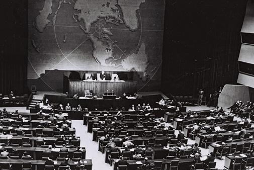בתמונה: העצרת הכללית של האומות המאוחדות, 1947 (באדיבות לשכת העיתונות הממשלתית).