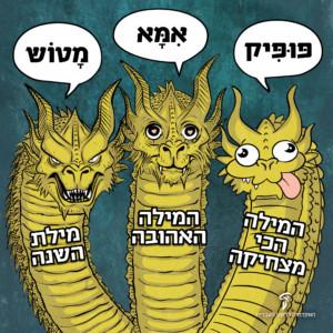 המילה הכי מצחיקה: פופיק. המילה האהובה: אימא. מילת השנה: מטוש. איור של שלושה דרקונים מצחקים.