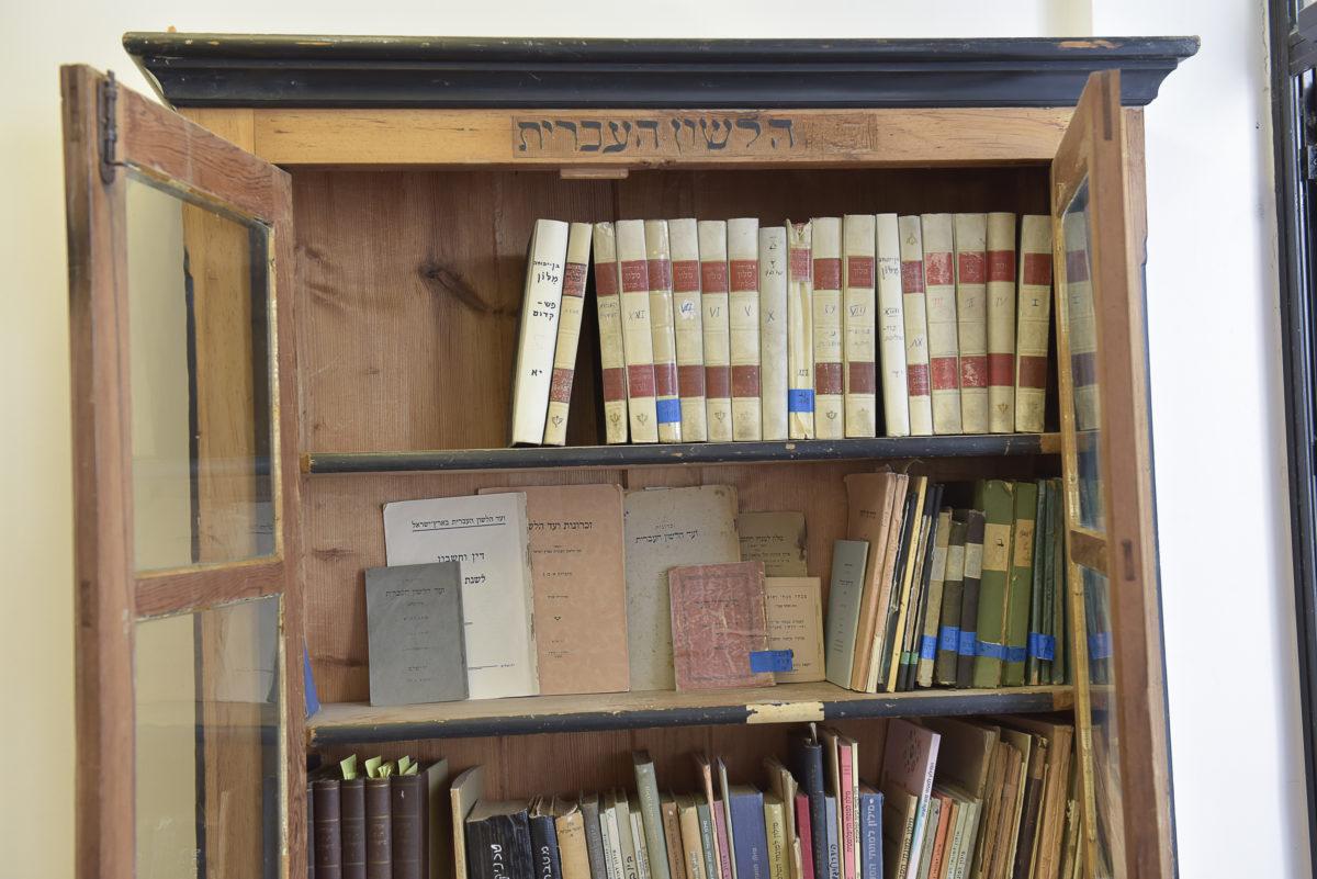 צילום של ארון הספרים הישן, המילה ועד מחוקה לפני המילים הלשון העברית