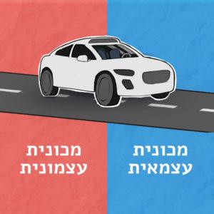 """איור מכונית אוטונומית וכיתוב """"מכונית עצמאית מכונית עצמונית"""""""