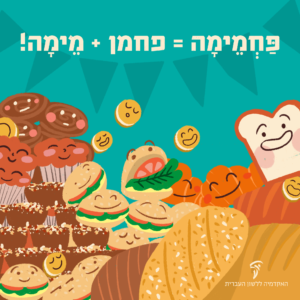 """איור פרוסות לחם, המבורגרים, עוגיות וקאפקייקס (עוּגוֹנִית) עם כיתוב """"פַּחְמֵימָה היא הלחם המילים פַּחְמָן ומֵימָה"""""""