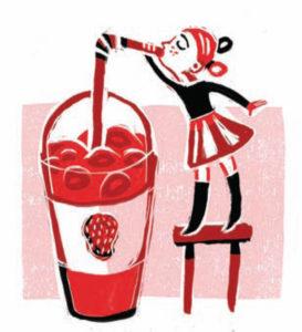 """איור ילדה שותה מיץ מתוך מילון הכיס """"100 מילים"""""""