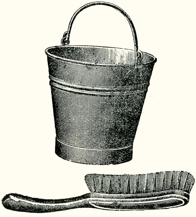 """איור מברשת ודלי מתוך רשימת כלי-ניקוי, המילון למונחי המטבח, ירושלים תרצ""""ח (1938)."""