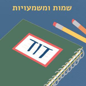 """איור מחברת ועפרונות, על המחברת השם """"דוד"""" ובראש האיור כיתוב """"שמות ומשמעויות"""""""