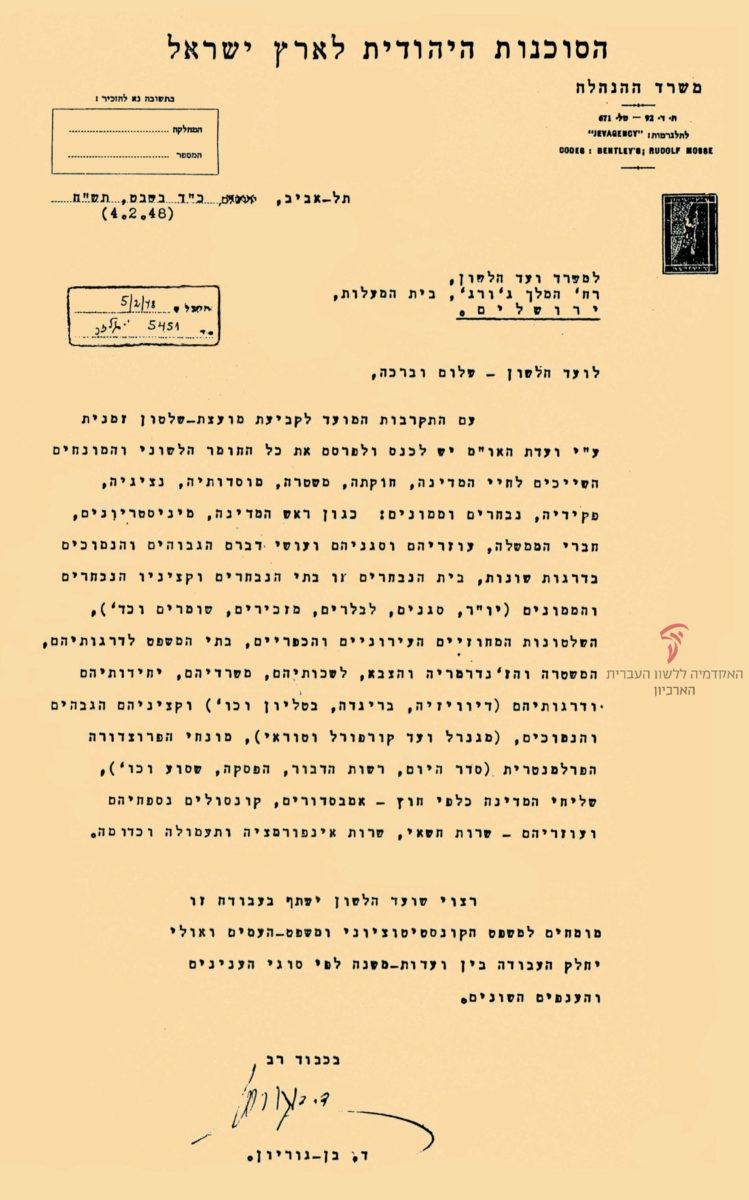 מכתב מדוד בן-גוריון לועד הלשון על הצורך לקבוע מונחי מדינה