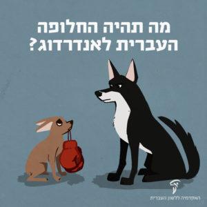 """איור כלב שחור גדול וכלב חום קטן מחזיק כפפות איגרוף עם כיתוב """"מה תהיה החלופה העברית לאנדרדוג?"""""""