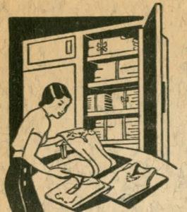 איור ספר ישן אישה מקפלת בגדים