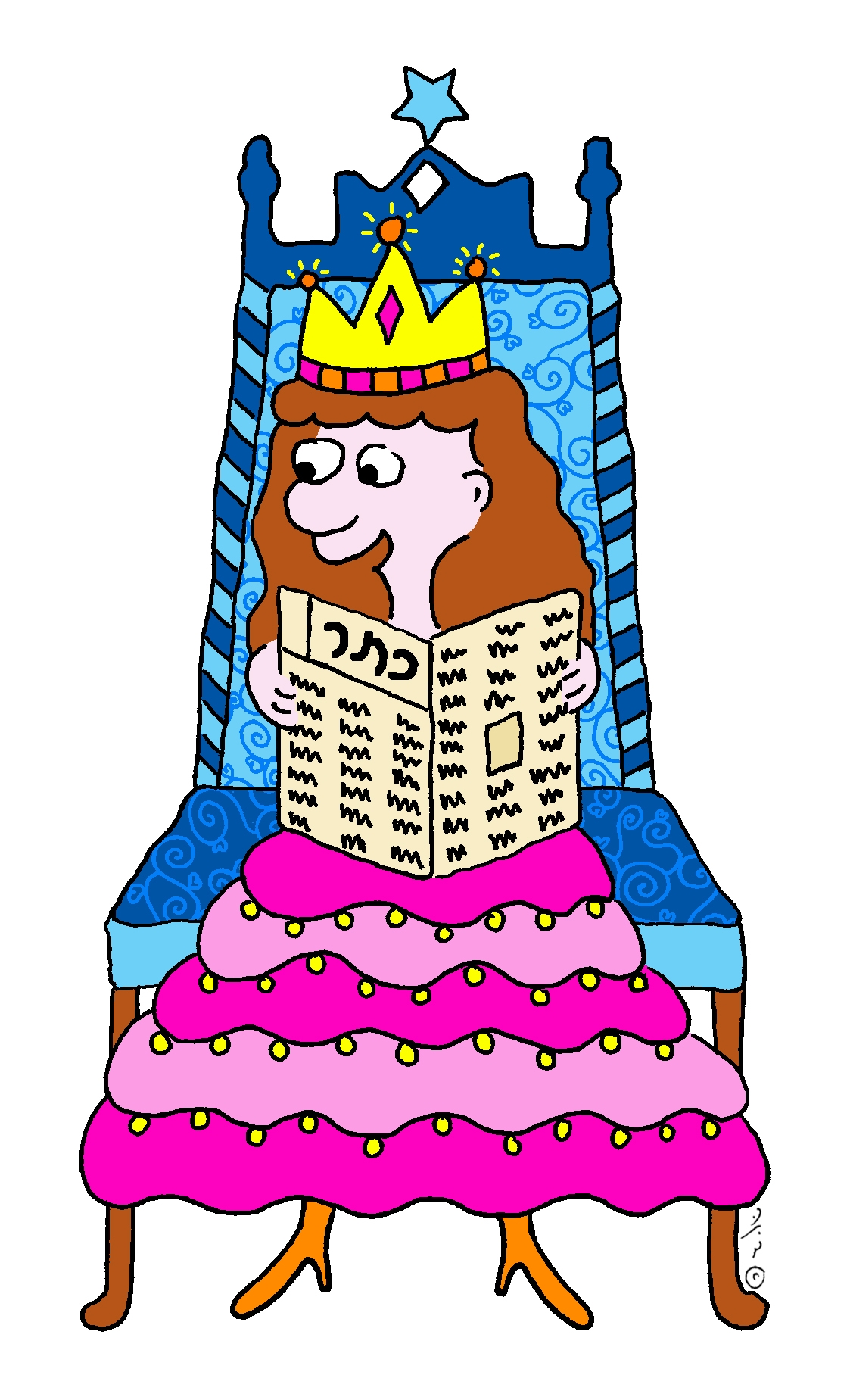 איור של מלכה יושבת על כס וקוראת דך נייר ועליו המילה כתר