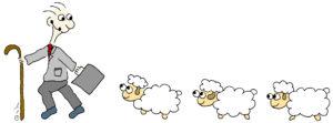 איור רועה בלבוש של מנהלים ואחריו שלושה כבשים - על מנהיגים ומנהלים