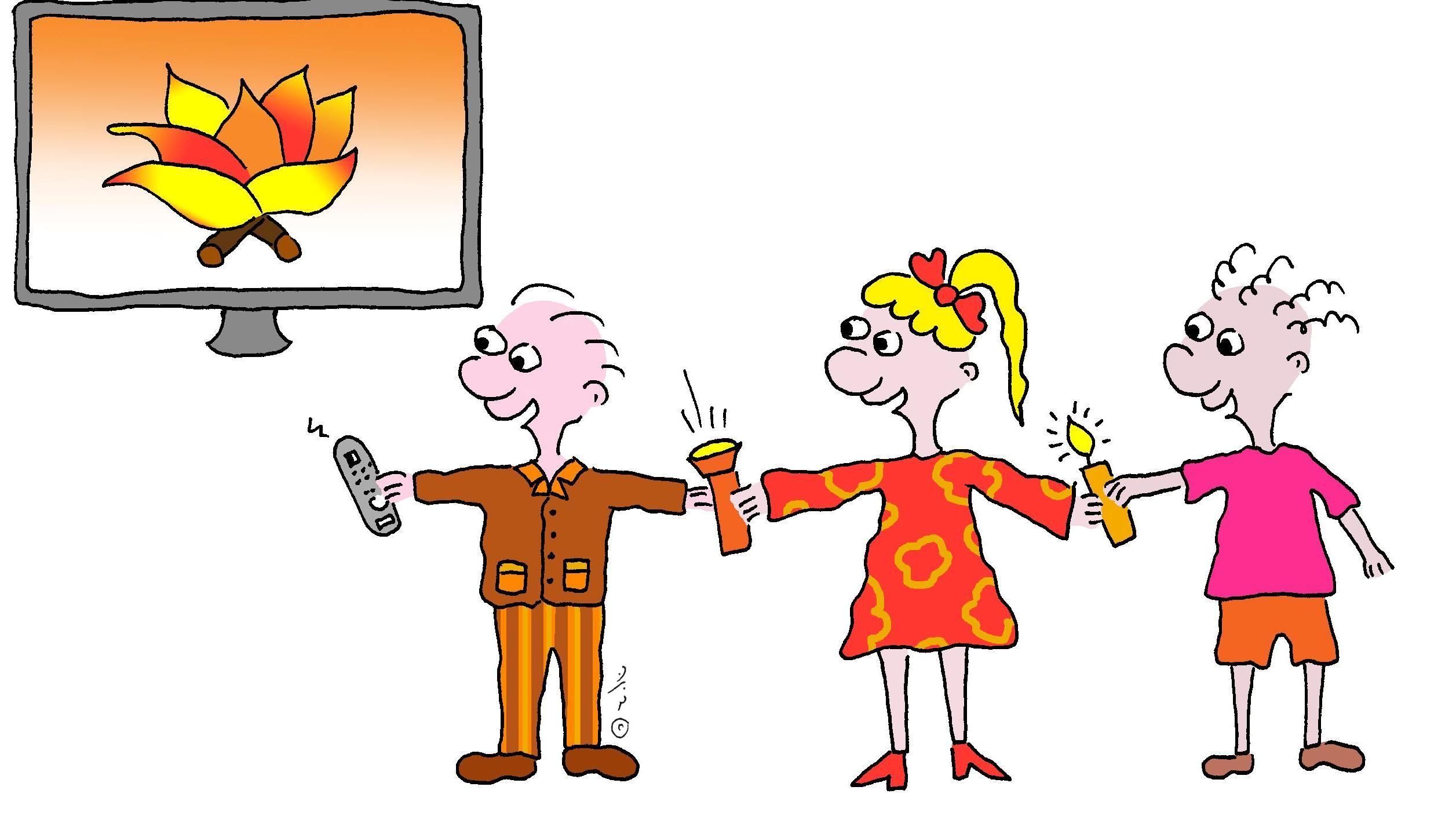 איור של ילדים אוחזים בפנס, נר ושלט טלוויזיה - שונות של אש