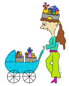 איור של אישה מובילה בעגלה בתים וחומות - העיר והבירה