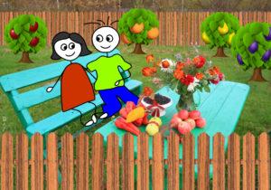 איור של שני ילדים יושבים על ספסל בין עצי הגן
