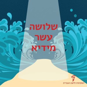 איור של ים סוף נחצה והכיתוב: שלושה עשר מידיא