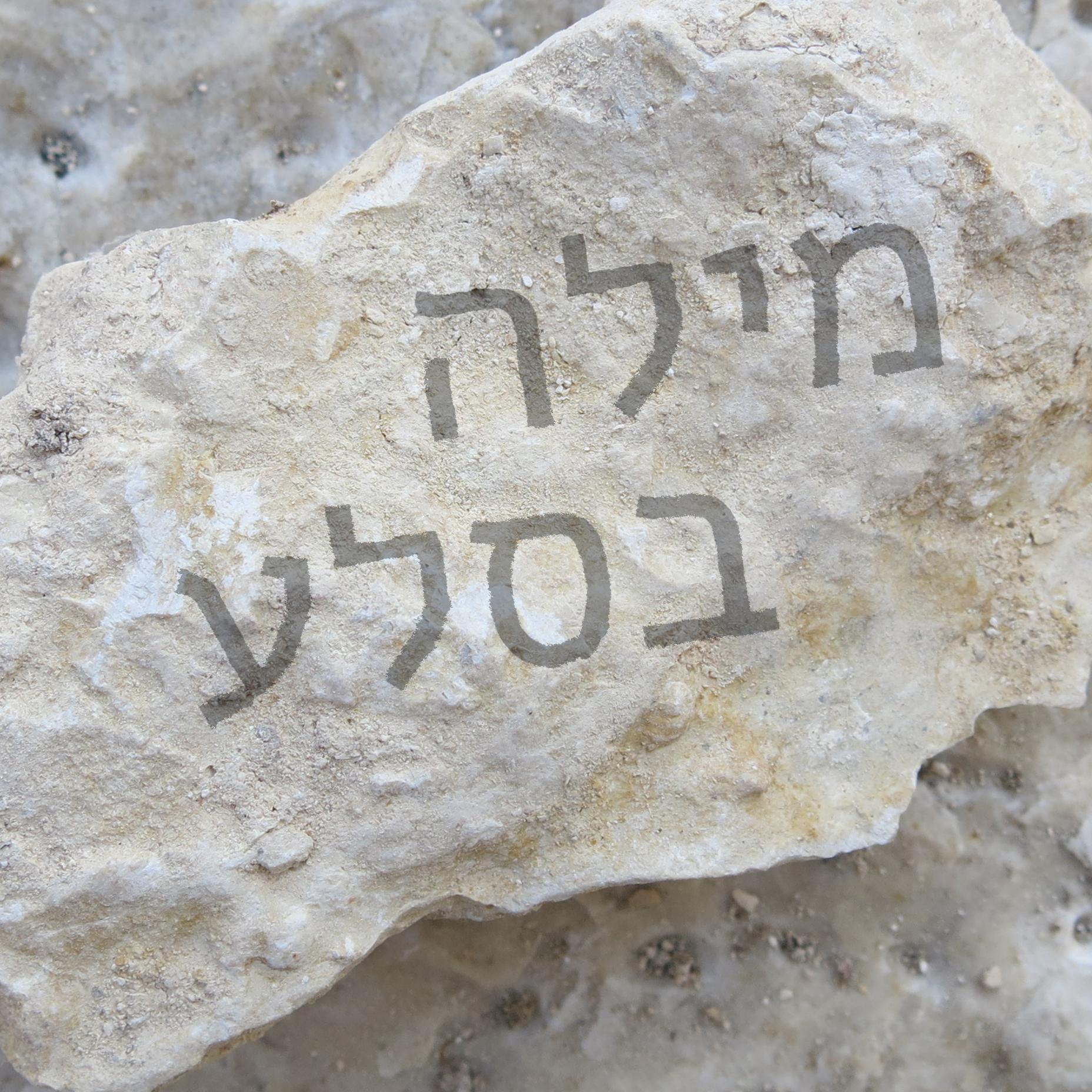 צילום של סלע ועליו הכיתוב: מילה בסלע
