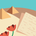 איור פירמידות, מדבר, מצות ופרחים