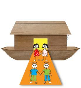 איור של שני זוגות: שני בנים ושתי בנות לפני תיבת נוח