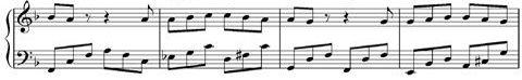 """דוגמה לתווים (קטע מ""""שיר לערב חג"""")"""