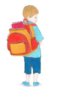 איור של ילד עם תרמיל על הגב