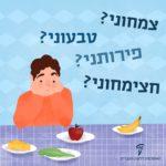 איור של ילד ולידו צלוחיות מזון והכיתובים: צמחוני? טבעוני? פירותני? חצימחוני?